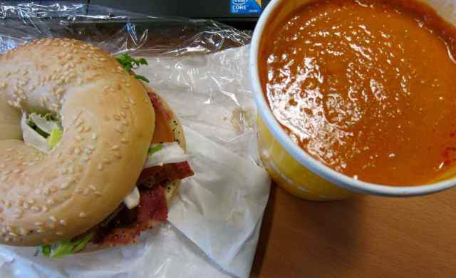 BLT Bagel and tomato soup