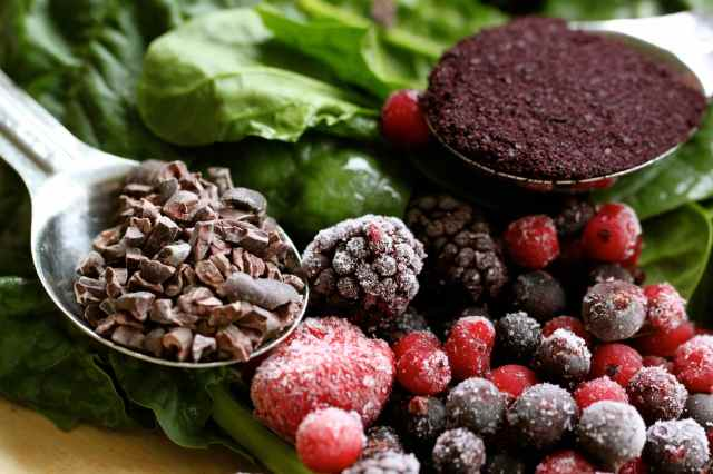 cacao, acai, spinach and berries