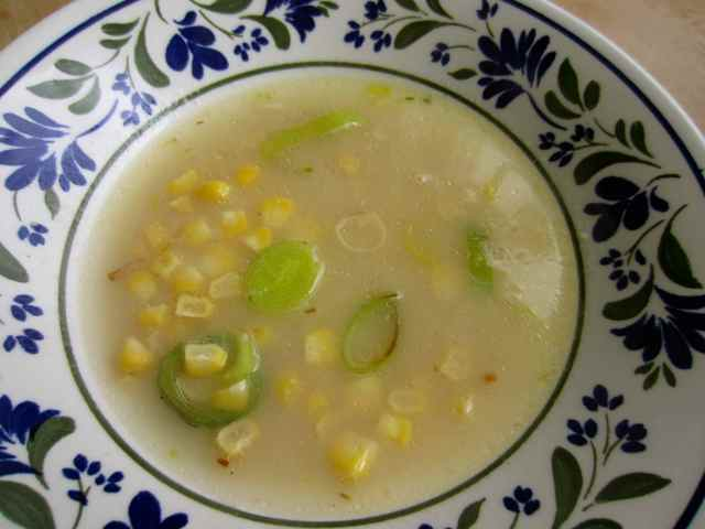 Chicken sweetcorn and leek soup