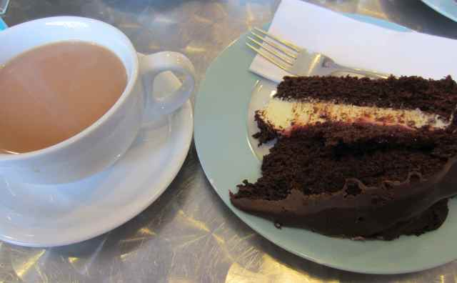 Chocolate cherry cake and tea