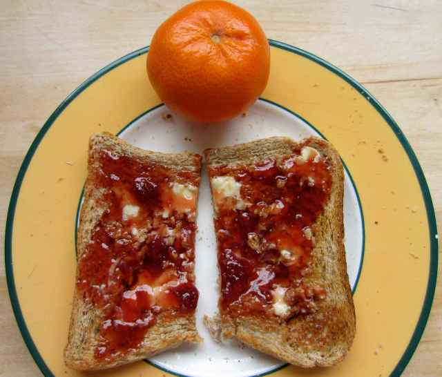 jam on toast and satsuma