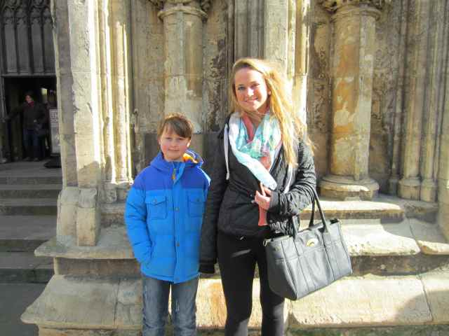 L and H outside York Minster