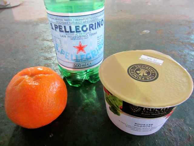 mandarin, water and yogurt