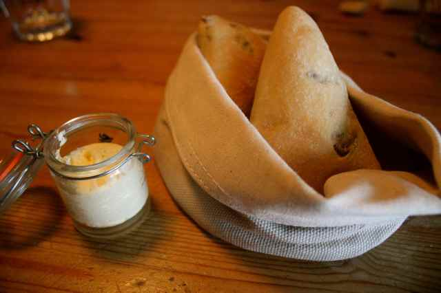 olive bread and whipped butter