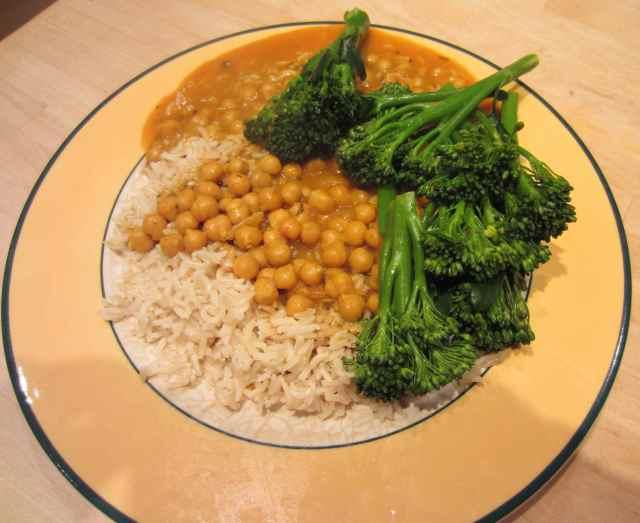 rice, dahl and broccoli