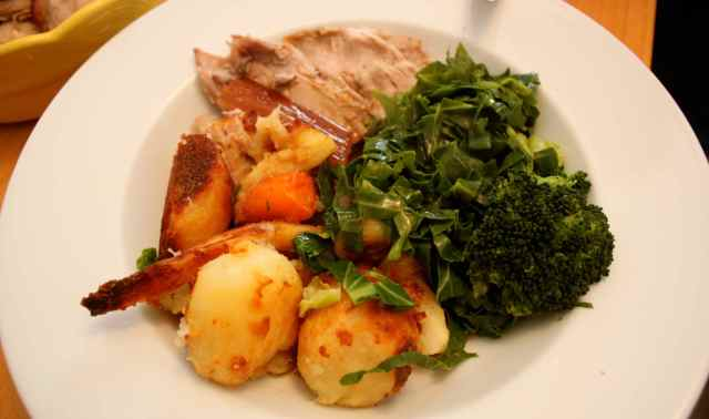 Roast pork and veg