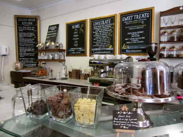The counter at The Cocoa House