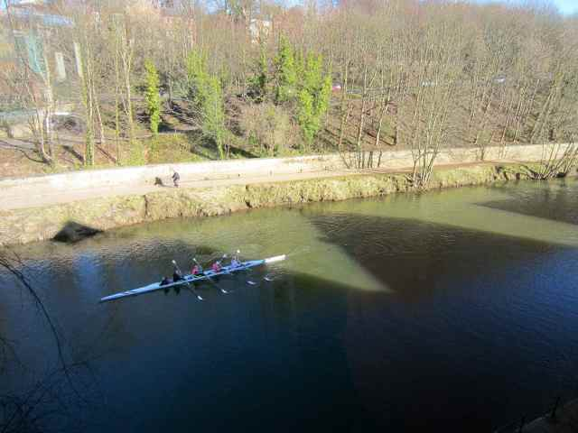 view of rowers from hotel