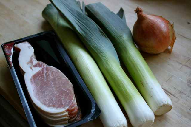 bacon, leeks and onion