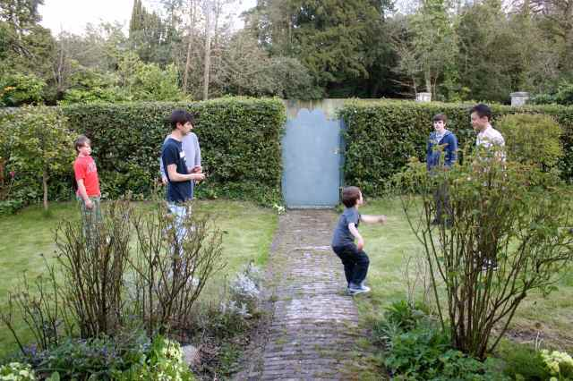Boys playng football