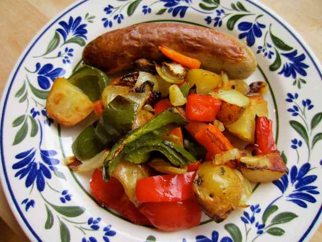 Bratwirst and roasted veg