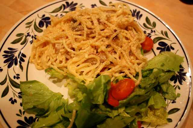 Carbonara and salad