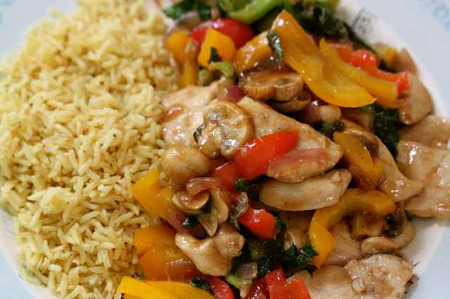 chicken in hoisin and rice