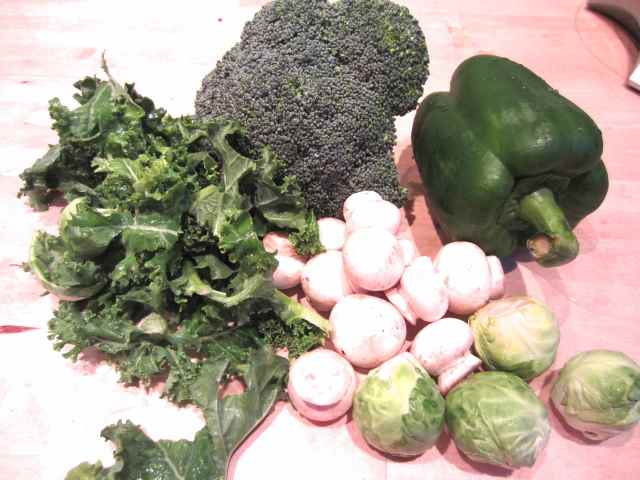 kale, broccoli, brussels, pepper and mushrooms