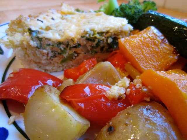 Kale frittata and roasted veg