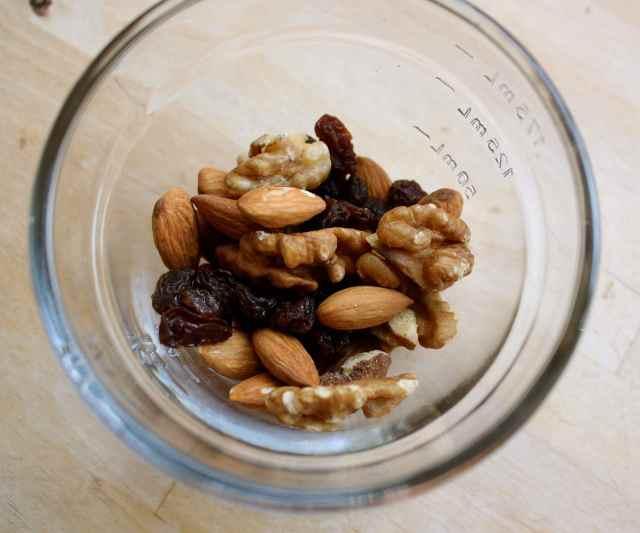 nuts and raisins
