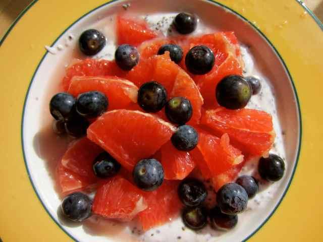 pink grapefruit, blueberries