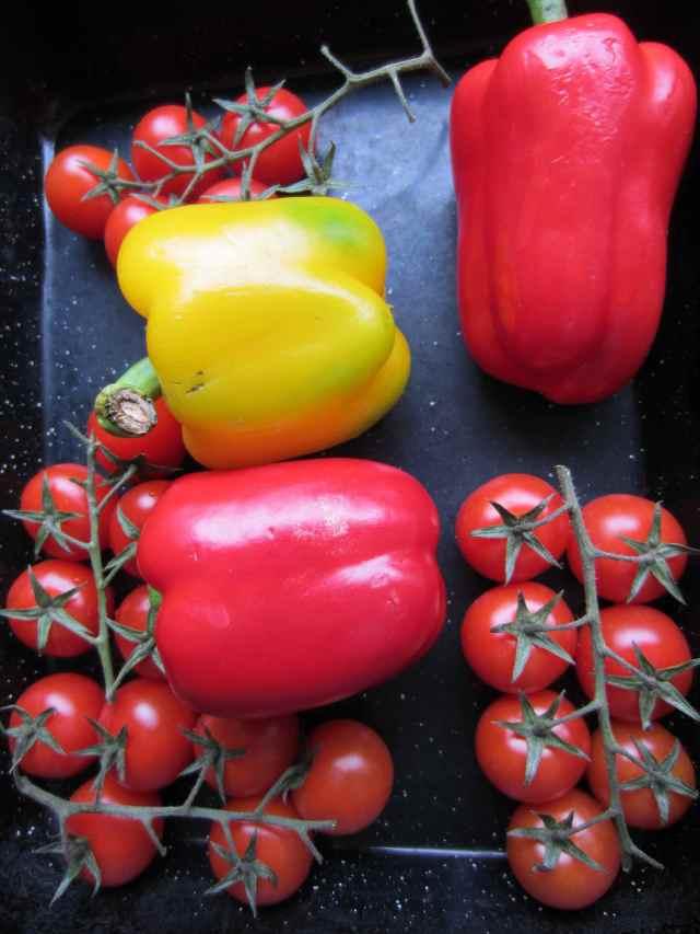 red veg in tray