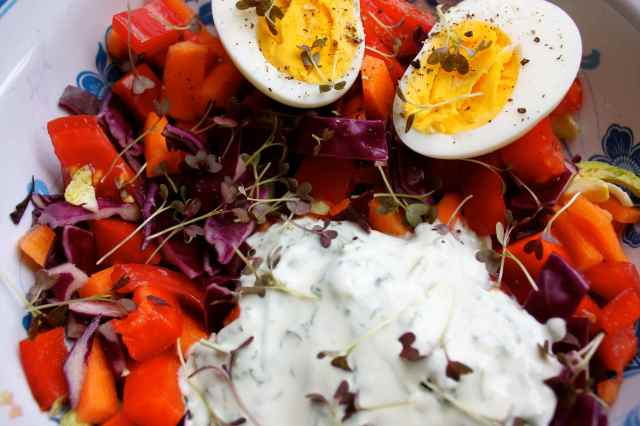 Salad with egg and tzatziki 2