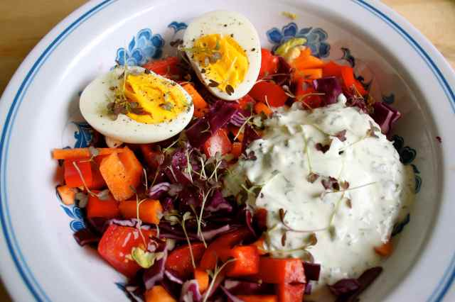 salad with egg and tzatziki