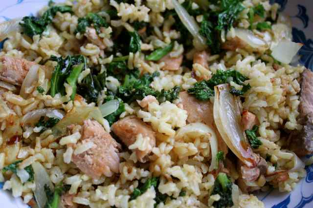 salmon, rice and kale