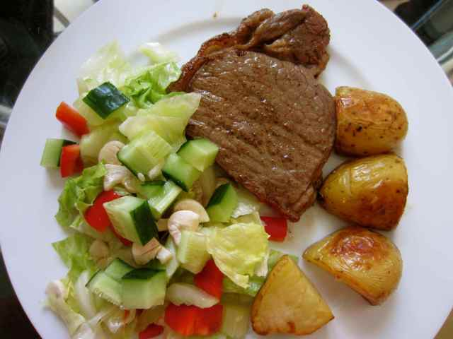 steak, salad and taters