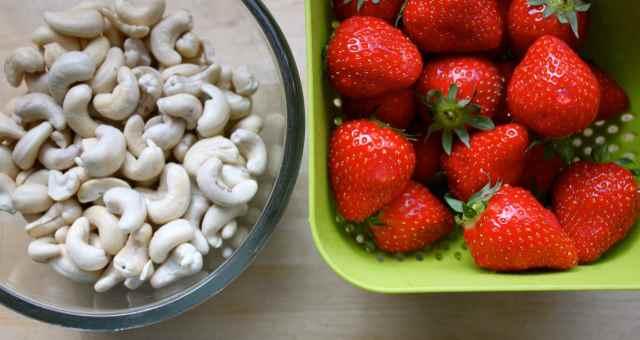 cashews and strawberries