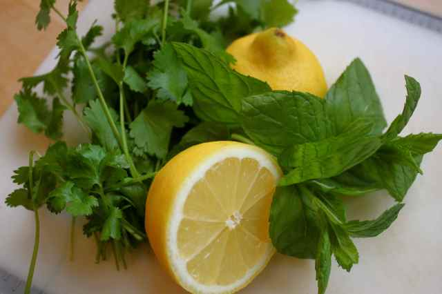 fresh herbs and lemon