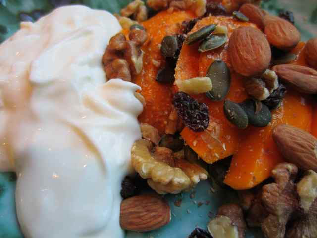 mango, yogurt and nuts