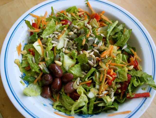 salad with olives and sprinkles