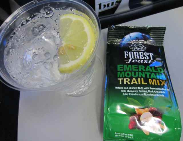 Trail mix and water