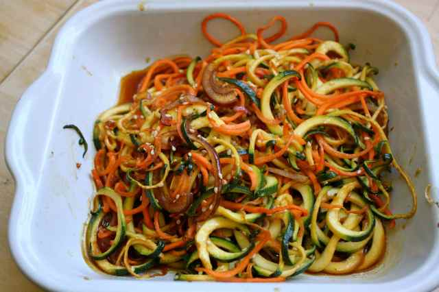 Asian spiralled vegetables cooked