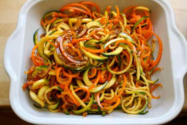 Asian spiralled vegetables raw