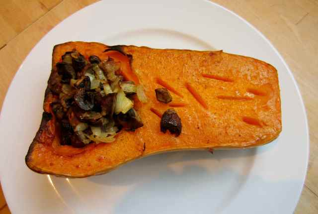 Butternut squash stuffed with mushrooms
