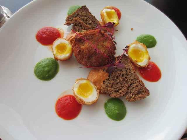 crab and quail's eggs