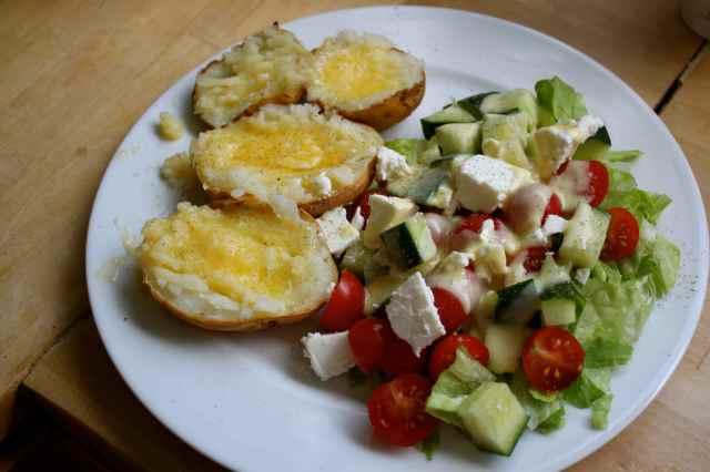 Feta salad an jacket potatoes