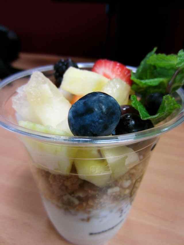 Granola, fruit and yogurt