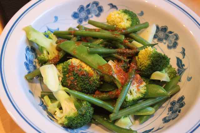 green veg with dressing