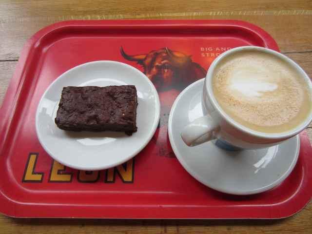 Leon brownie and coffee
