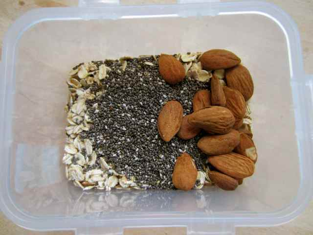 Oats and chia and almonds