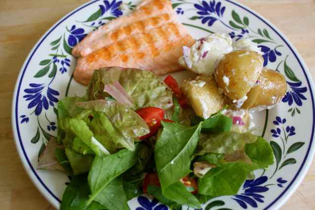 salmon, potato salad and salad