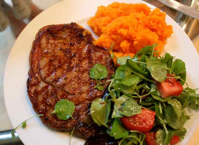 Steak, butternut and salad