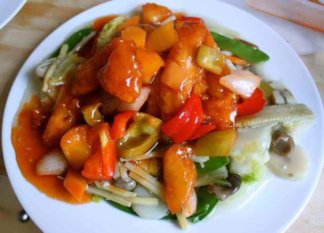 sweet and sour chicken with veggies