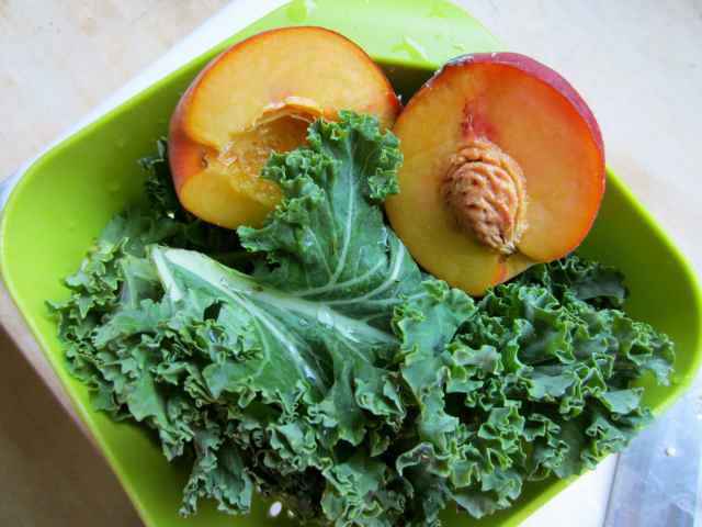 kale and peach