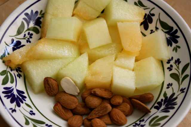 melon and almonds