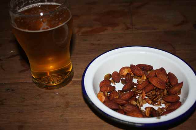 nuts and beer
