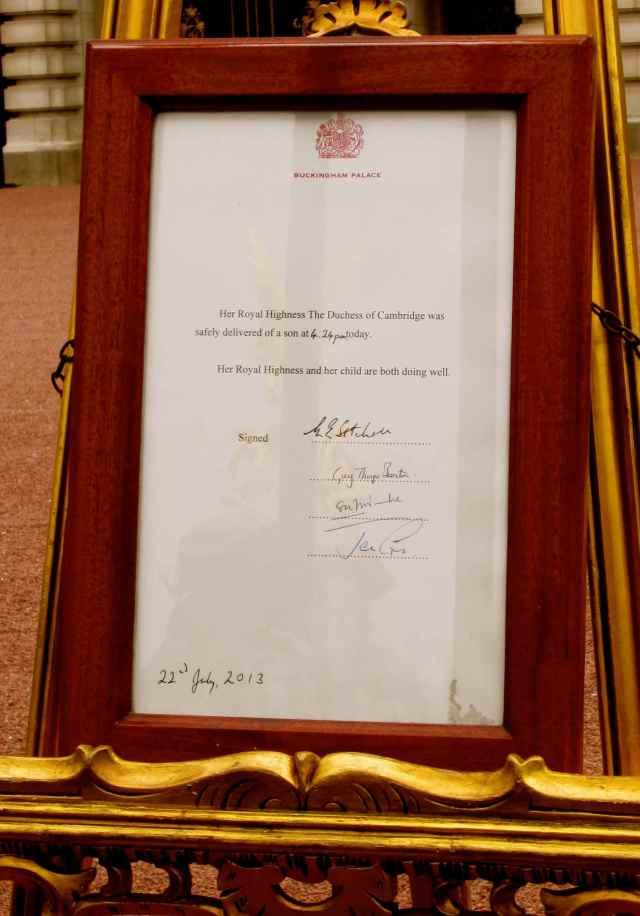 Royal Birth notice