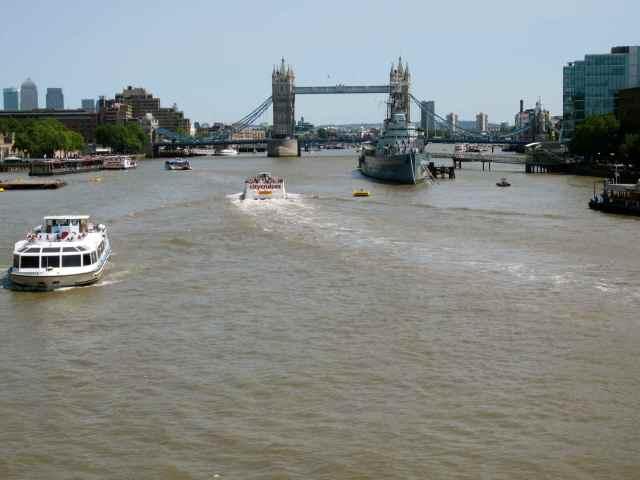 walking over London Bridge