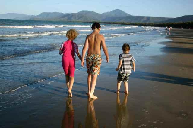 4 kids on beach