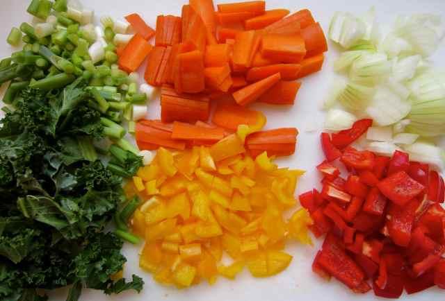 6 chopped veg